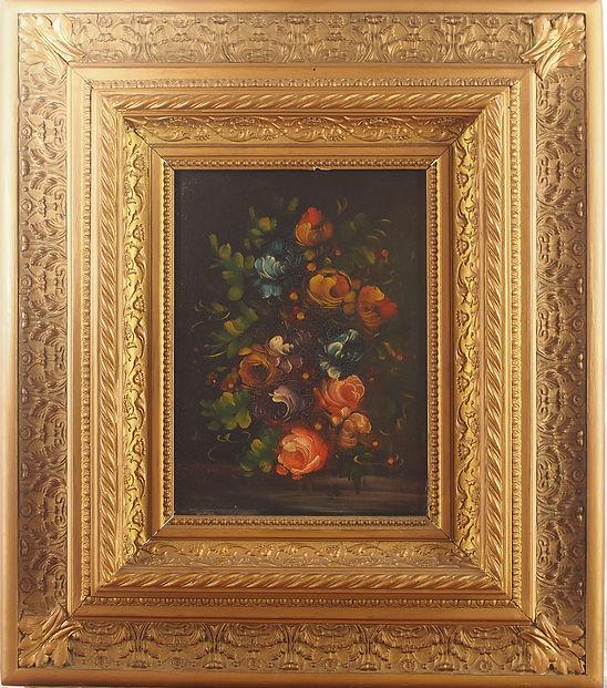 Olio su tela su cartoncino soggetto floreale di arredo