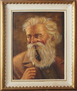 ritratto moderno di uomo con pipa