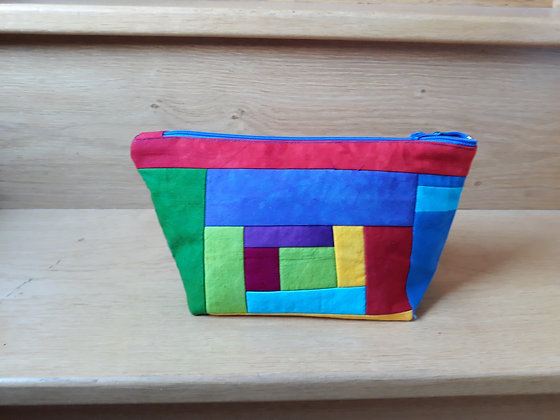 Hand Dyed Cotton And Silk Velvet Zipped Pouch