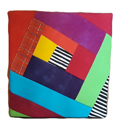 Fabric covered notebook. Patchwork, hand dyed and commercial cotton.