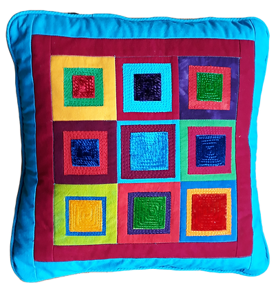 Hand dyed cotton and silk velvet cushion, appliqued