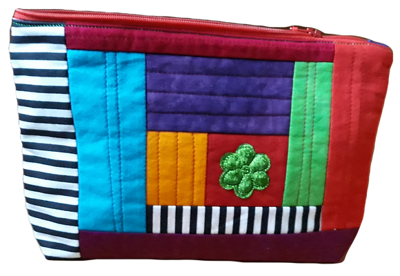 Cotton And Silk Velvet Zipped Pouch
