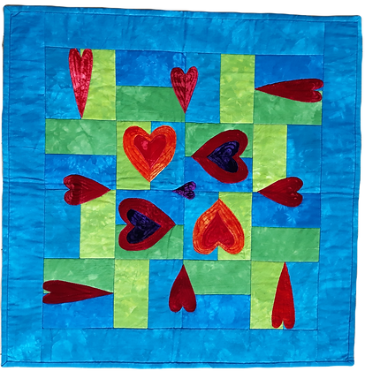 Green Blue Lovely Hearts Wallhanging Kit
