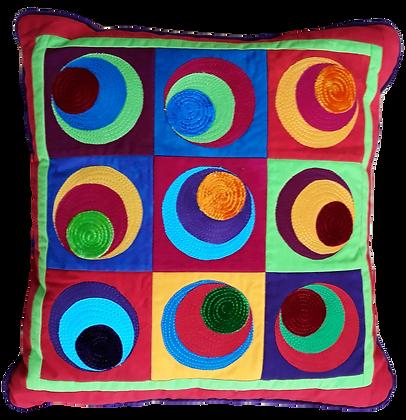 Off centre circles cushion