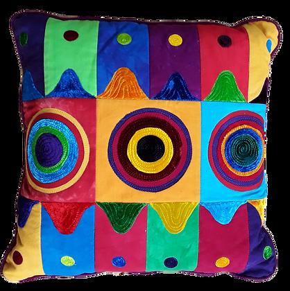 Waves, dots and circles cushion