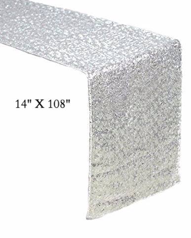 14_ x 108_ Sequin Table Runner, Silver