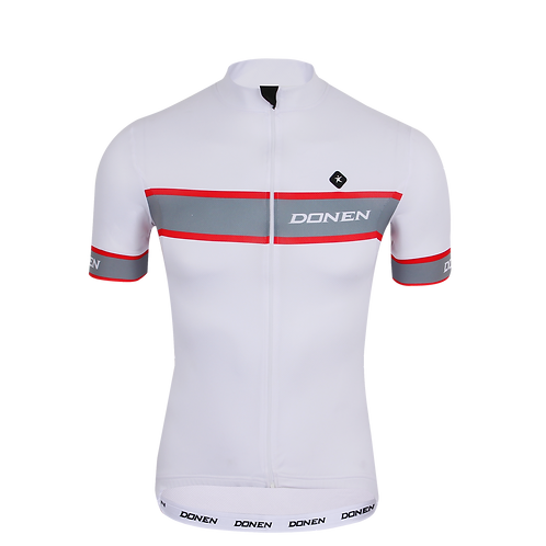 Donen White Cycling Team Jersey تيشيرت رياضي للدراجة الهوائية