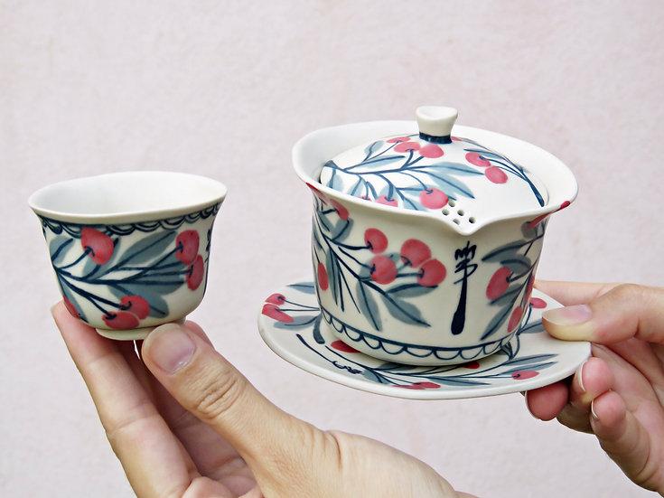 Tea set Gaiwan cerises