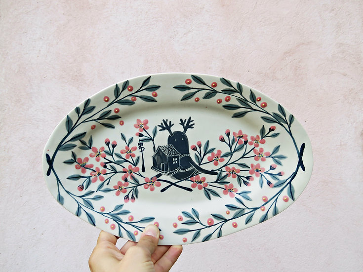 """Grand plat ovale """"Vagabond aux fleurs d'amandier"""""""