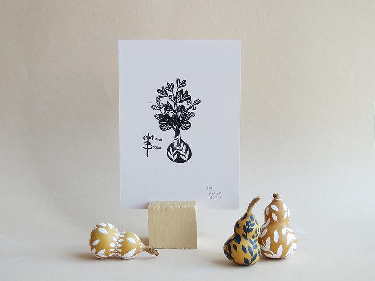 Calebasse fleurie #2 - LINOGRAVURE