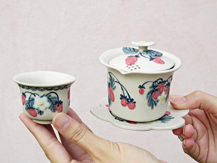 Tea set Gaiwan aux fraises
