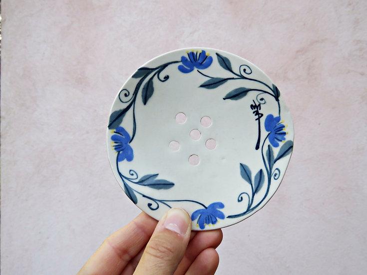 "Porte savon ""fleurs bleue"""