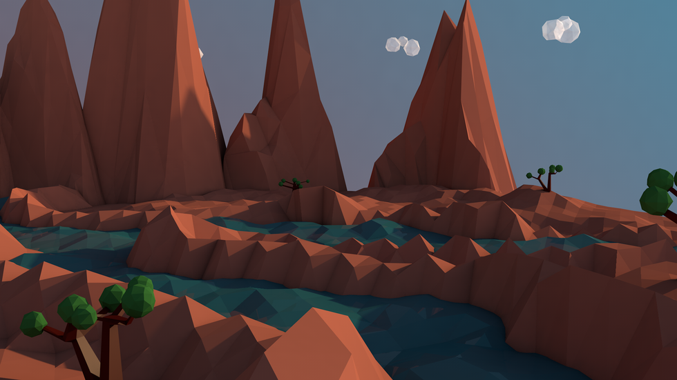 Low Poly Rocky Mountain