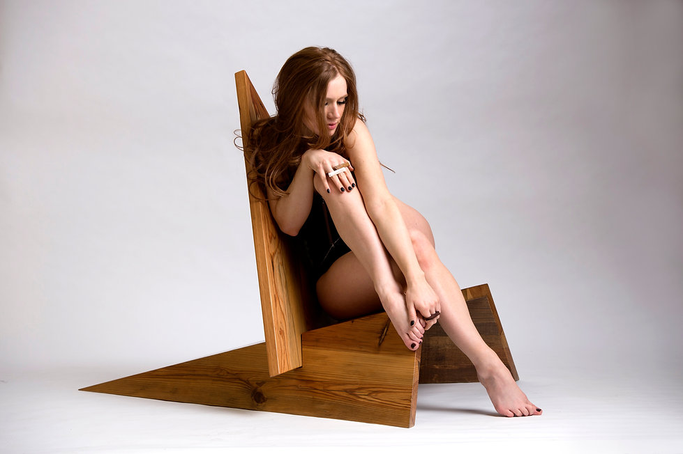Fashion inspired geometric modern lounge chair by Same Tree. Modern with a natural touch.