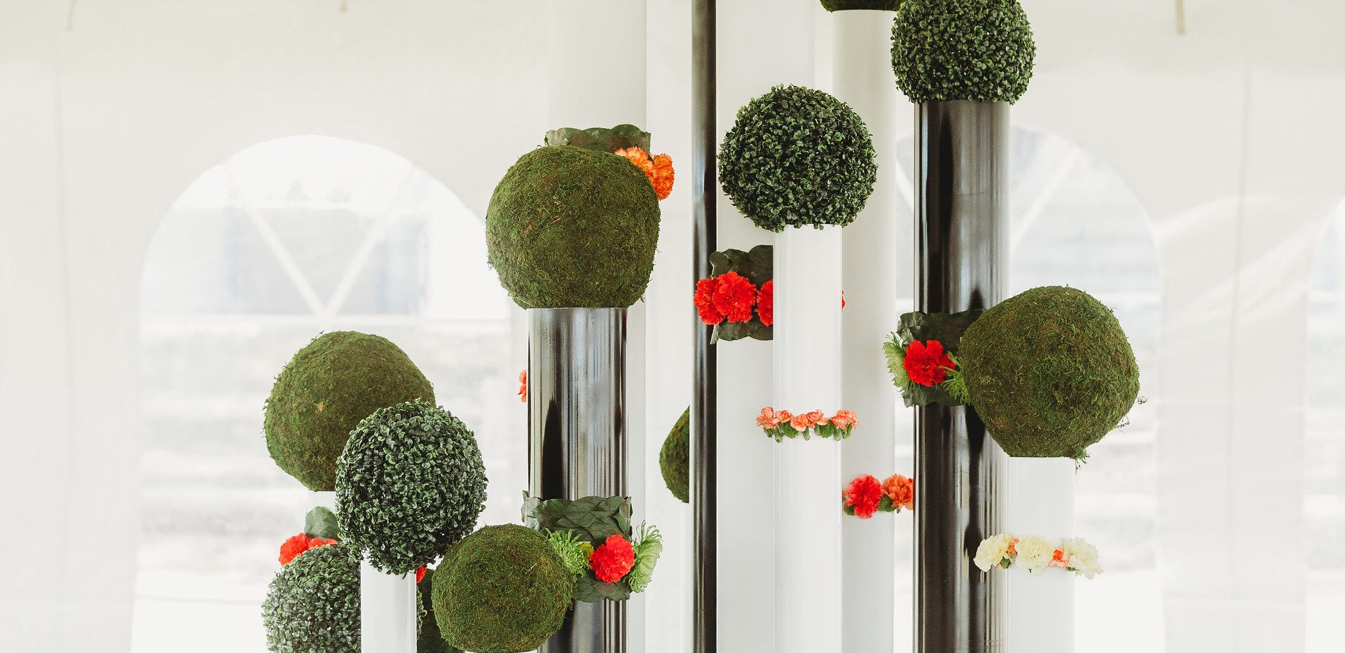 Boxwood Balls and Sculpture