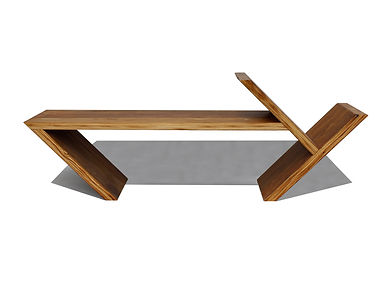 Fashion inspired geometric coffee table and modern bench by Same Tree.