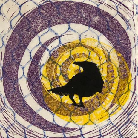 Crow in Vortex by Cathy Vigor