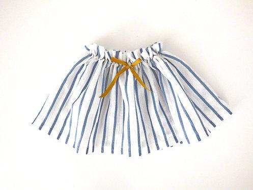 Falda Rayas Azules Lazo Mostaza