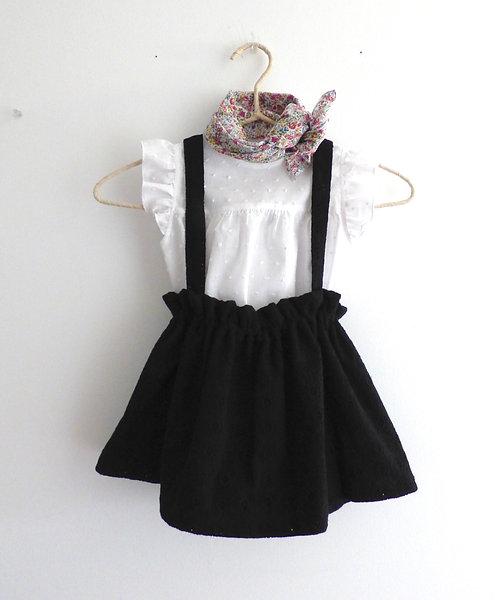 Falda Tirantes Negro Bordada