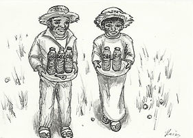 Two people carrying drinks