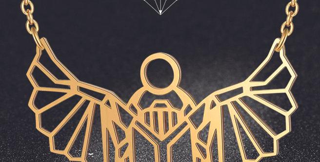 Collier origami scarabée égyptien formes géométriques