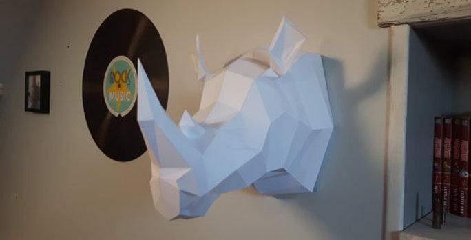 KIT DIY Trophée de Rhinocéros décoration papier (Papercraft animal/Origami)