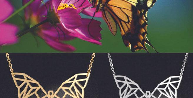 Collier origami Papillon formes géométriques