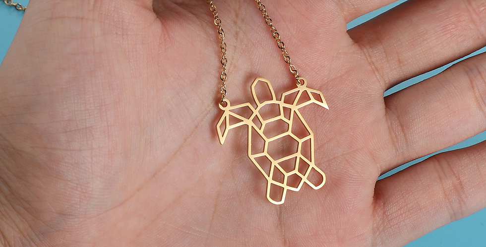 Collier origami Tortue de mer formes géométriques