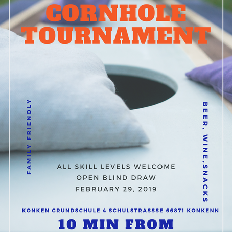 Come have fun and play in Leap Day Cornhole Tournament near Ramstein, Germany