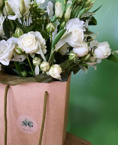 Mabel - Hand Tied Aqua Bouquet