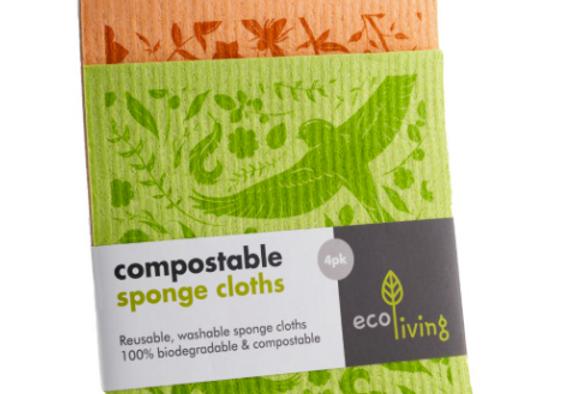 Compostable Sponge Cleaning Cloths - Botanic Garden (4 pack)