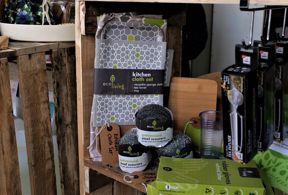 Kitchen Cloth set - sponge cloth, tea towel & tray (gift)