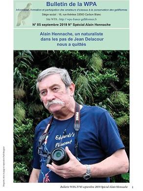 Bulletin 85, septembre 2019, N° spécial Alain Hennache