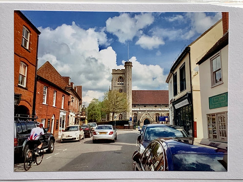 Welwyn - High Street looking towards St. Mary's Church (with cyclist)