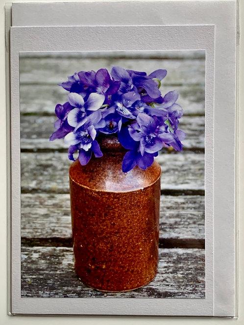 Flowers - Violets in vase (blue)