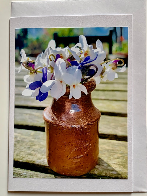 Flowers - Violets in vase (white & blue)