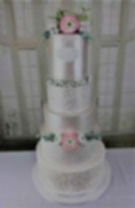 5-Tier Modern Luxury Wedding Cake with Sugar Ranunculus