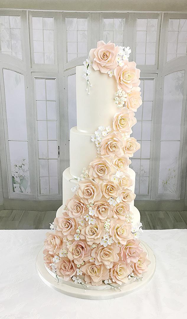 4 Tier Wedding Cake Sugar Roses