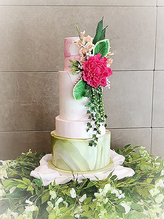 Pink and Green Marble Wedding Cake