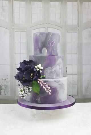 Purple & Grey Marble Wedding Cake
