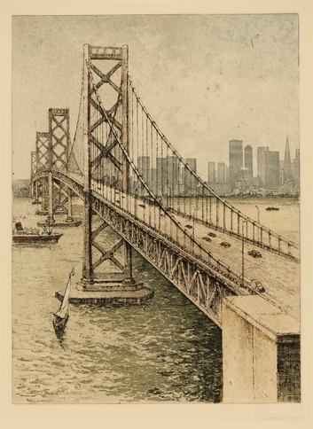 Etching Oakland Bay Bridge