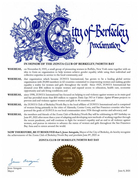 Berkeley Proclamation Zonta Day