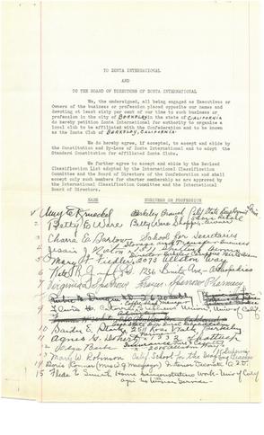 Original Zonta Berkeley Founding Members Signatures