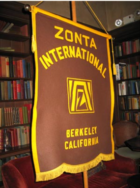 Zonta berkeley flag in library