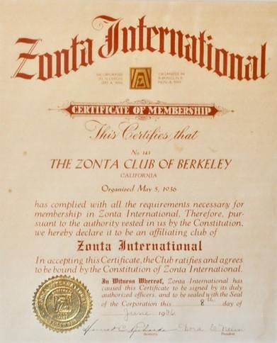 Zonta Berkeley Founding Certificate 1936