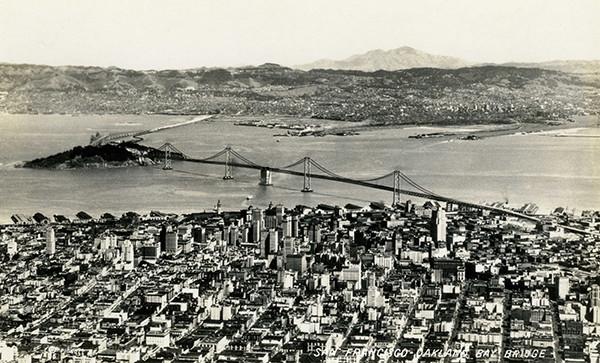 Aerial photo of Bay Bridge in 1936