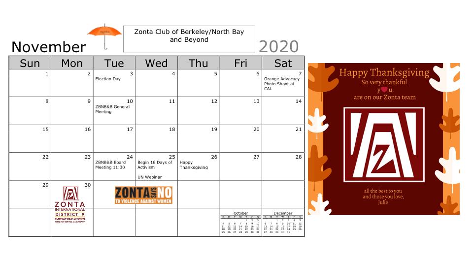 Zonta Calendar November 2020