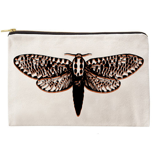 Two Tone Moth Zipper Pouch