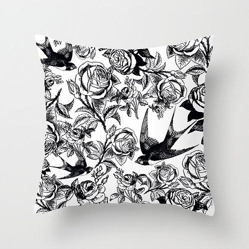 Sparrows & Thorns Throw Pillow (white)