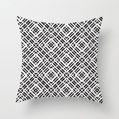 Circular Tile Throw Pillow (black)